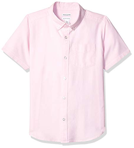 Amazon Essentials Uniform Oxford-Hemd für Jungen, Kurzarm, Oxford Pink, US L (EU 134-140 CM, H)