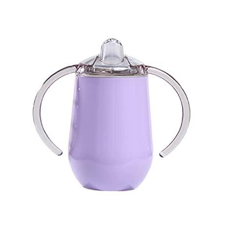 XMTT Acero inoxidable niños chupete taza creativa en forma de U cáscara de huevo taza multifuncional taza anti-colisión taza con tapa mango portátil taza púrpura