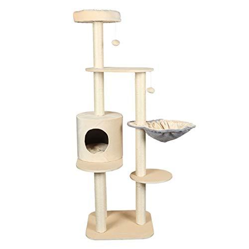 Gatos del árbol Gato del árbol del gato del gato grande columpio Un juguete del gato de Sisal con arena for gatos gato que salta de plataforma Rascador Escalada Shelf Gatos felpa Condo Nido cesta Plat