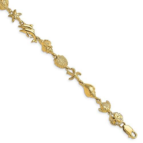 14 Karat Gold, nautische Kombination mit Delfinen in der Mitte, Schmuck, Geschenke für Frauen, 18 cm