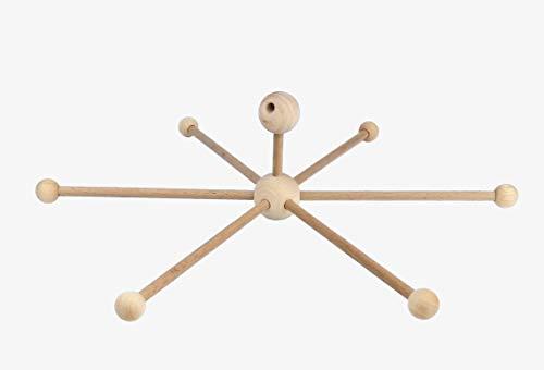 Mathar Keramik Mobilestern Bausatz 30 cm mit Aufhängung Mobile aus Holz mit 6 Armen Holzmobile Mobilekreuz