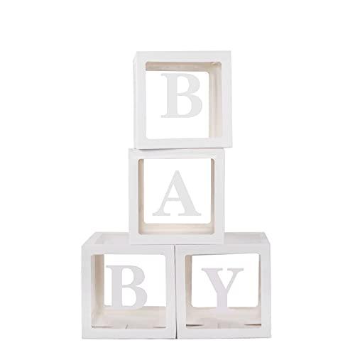 Boîte de ballons de douche de bébé 4 boîtes transparentes blanches + 26 lettres (A-Z) + lettres BÉBÉ, bloc décoratif d'affichage de genre de boîte d'anniversaire Décorations de fête de vacances