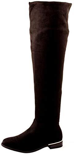 Elara Damen Stiefel Overknees Wildlederoptik Chunkyrayan 0-76-Schwarz-39