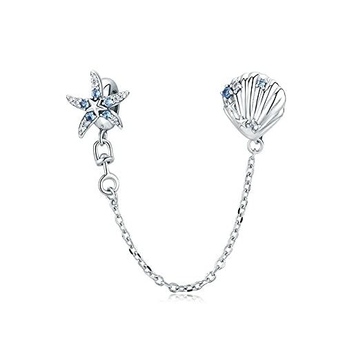 LIJIAN DIY 925 Sterling Jewelry Charm Beads Starfish Y Shell con Hacer Originales Pandora Collares Pulseras Y Tobilleras Regalos para Mujeres