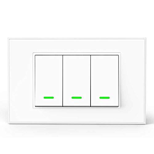 Smart Wall Switch WiFi Smart Switch interruttore della luce intelligente, touchscreen, funzione timer, telecomando APP, compatibile con SmartThings, Amazon Alexa, Google Home e IFTTT (3 Gang)