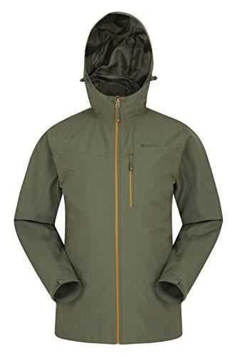 Mountain Warehouse Chaqueta Brisk Extreme Impermeable para Hombre - De Invierno, con Capucha y puños Ajustables y Costuras Selladas - Ideal para acampadas y Viajes Caqui Oscuro L