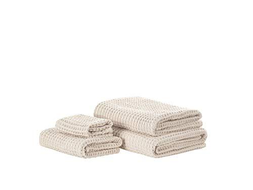 Beliani Conjunto de 4 Toallas de algodón Beige AREORA
