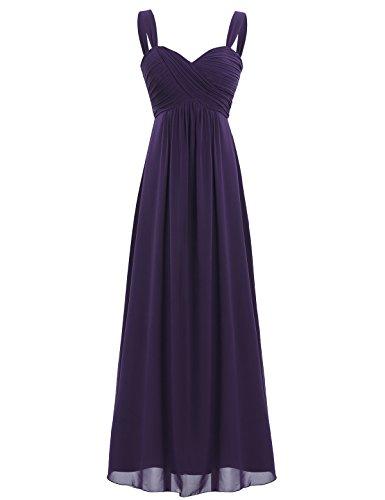 iEFiEL Elegant Damen Kleider Sommer Chiffon Kleid Lang Cocktailkleid Abendkleider Hochzeit Party Kleider Gr. 36-46 Dunkel Lila 36