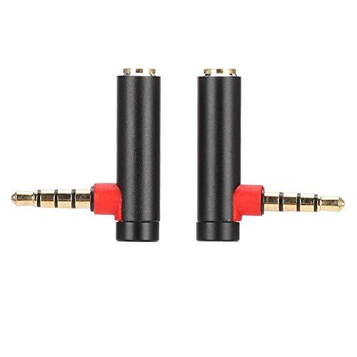 ASHATA Adaptador de Audio 3.5 mm y 90 Grados, 2 Piezas Adaptador de Audio Macho a Hembra de 3.5 mm Enchufe de Cable de Auriculares estéreo de ángulo Recto, Adaptador AUX Hembra a Macho(Negro)