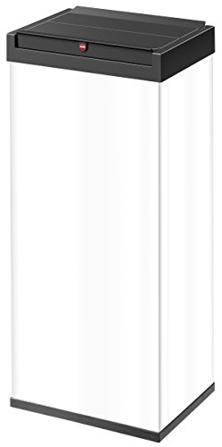 Hailo Big-Box Swing XL Mülleimer | 1 x 52 Liter | selbstschließender Schwingdeckel | Stahlblech | Müllbeutel-Klemmrahmen | Mülleimer Küche rechteckig | Abfalleimer made in Germany | weiß