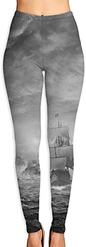 MODORSAN Leggings Estampados en 3D de Barco Pirata Sea Ocean Skull para Mujer, Mallas elásticas de Yoga Suaves para Entrenamiento, Mallas elásticas de Motociclista, Mallas con Estampado Suave-XL