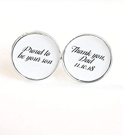 Father of the Groom Gift From Groom, Wedding Cufflinks, Gift From Bride, Gift From Groom to Dad, Wedding Date Cufflinks, Proud to Be