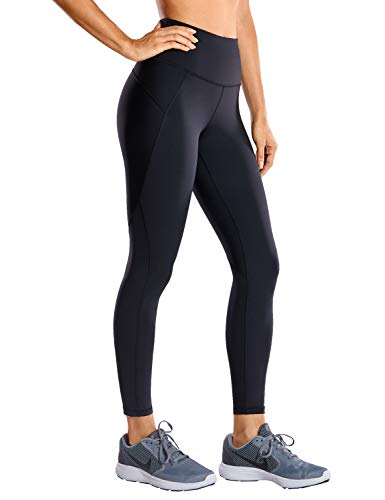 CRZ YOGA Women's Hugged Feeling Training Leggings 25 Inches - Non See-Through Compression Running Tights Workout Pants Black 25'' - R424 Running X-Large