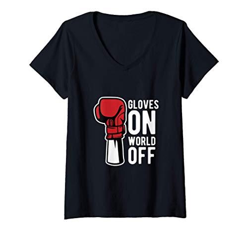 Damen Gloves on world off - Boxhandschuhe Boxer Boxen T-Shirt mit V-Ausschnitt