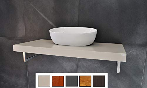 Edler Waschtisch MN-100H Carl Svensson Waschtischplatte Creme Seidenmatt inklusive Handtuchhalter