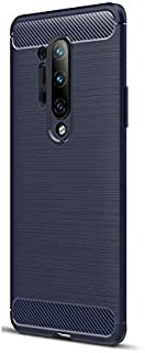 Brushed Carbon Fiber Texture All-Inclusive Anti-Fall Mobile Phone Case Cover For Oneplus 8 Pro - Blue