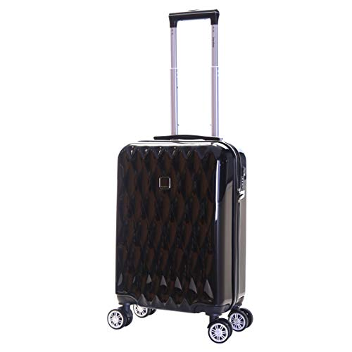 Karabar Hard Shell Cabin Carry-on Hand Luggage Suitcase Bag 55 cm 2.5 kg 35 litres Polycarbonate PC with 4 Spinner Wheels and Integrated TSA Number Lock, Diamond Black
