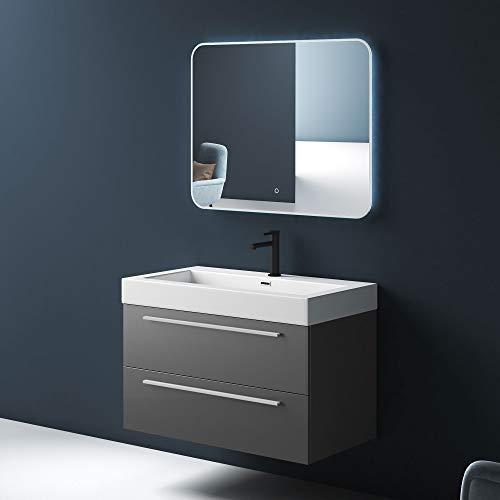 Mai & Mai Conjunto de Mueble de baño diseño Quadratto Color Antracita Incl. 2 Piezas, Lavabo de fundición Mineral, Mueble de 73 cm con 2 cajones