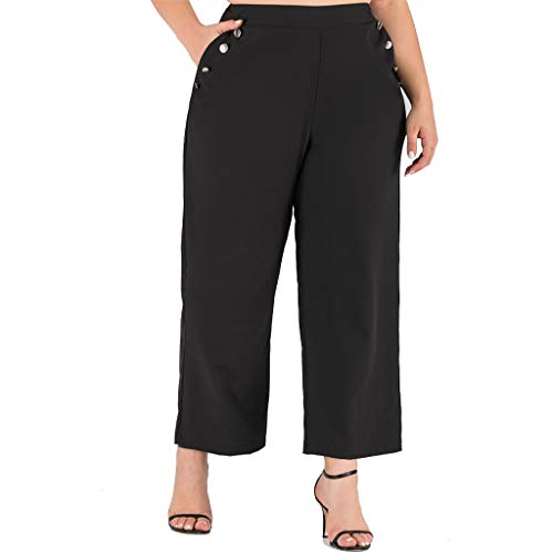 Panty's, joggingbroek, brede broeken, broek voor dames Plus Size Pocket Button losse vrije tijd brede broekspijpen leggings lange broek X-Large zwart