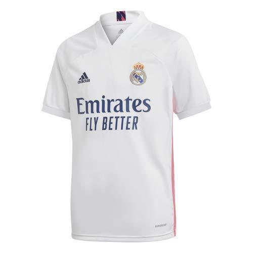 Adidas Real Madrid Temporada 2020/21 Camiseta Primera Equipación Oficial, Niño, Blanco, 13/14 años