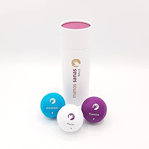 Paquete 3X Bolas Relajantes de Colores Antiestrés Lavables & para Ejercitar Manos y Dedos - Manos Sanas