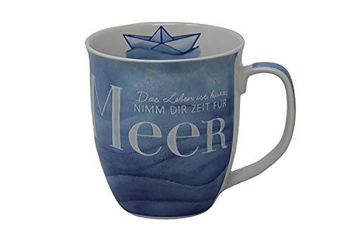 osters muschel-sammler-shop Becher/Krug/Teebecher Sylt ┼ Porzellan 9,7x9,5cm┼ 300ml ┼ Maritim Strand ┼ Sprüche (nimm dir Zeit)
