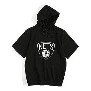 バスケットボールスーツ メンズフード付き半袖NBAブルックリン・ネッツ、Tシャツ、通気性、アウトドアアクティビティ、バスケットボールのトレーニングウェア バスケットボール用パンツ (Color : Black, Size : XXXL)
