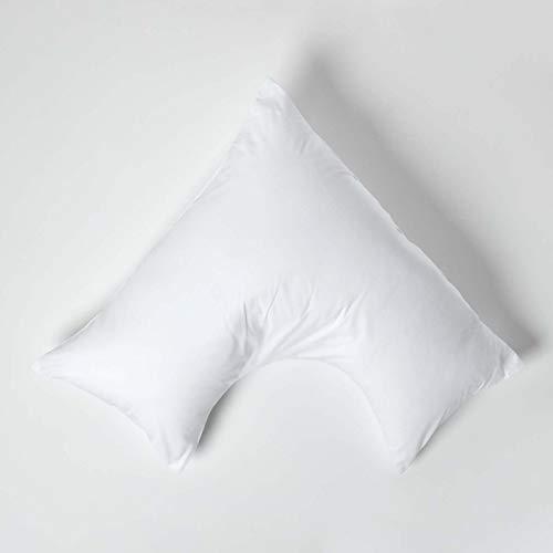 HOMESCAPES Funda de Almohada Forma V 100% algodón Egipcio 200 Hilos 110 x 80 x 80 cm Color Blanco