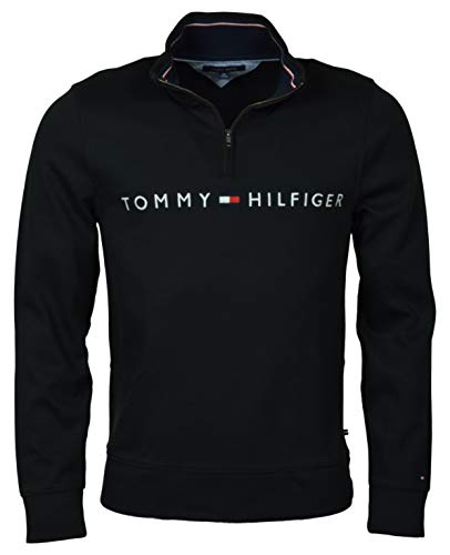 Tommy Hilfiger Men's 1/4 Zip Mockneck Sweatshirt,Jet Black,SM