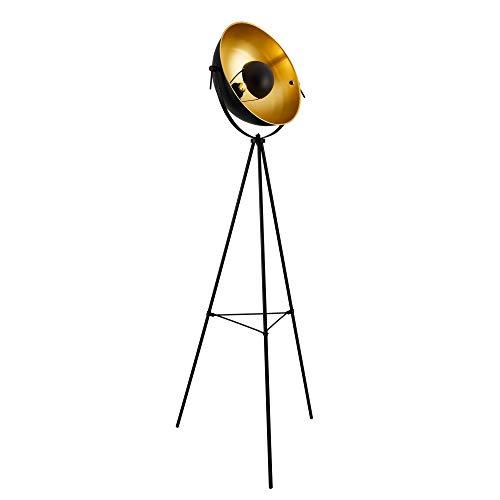 lux.pro Stehleuchte 'Angers' 158cm Stehlampe Tripod Standleuchte Studio-Scheinwerfer Stativ 1xE27 60W Metall Messing-Schwarz