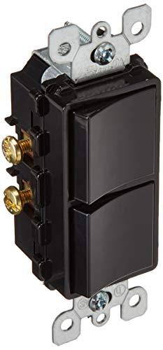 Leviton 5634-E 15 Amp, 120/277 Volt, Decora Single-Pole, AC Combination Switch, Commercial Grade, Grounding, Black