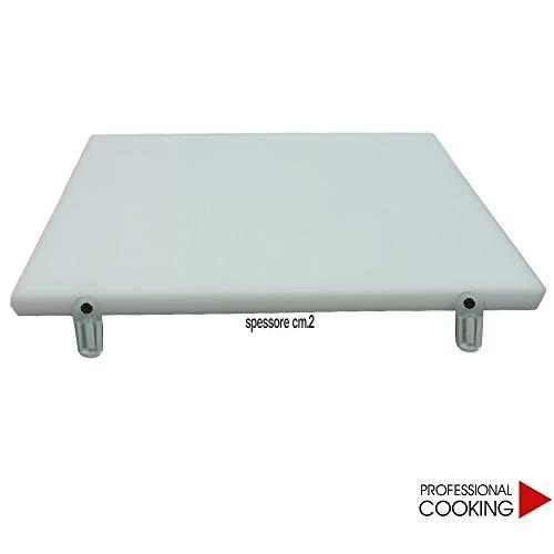 Professional Cooking Tagliere polietilene Double Face Pesante Bianco con Fermi girevoli Antiscivolo Spessore cm.2 (cm.60x40)