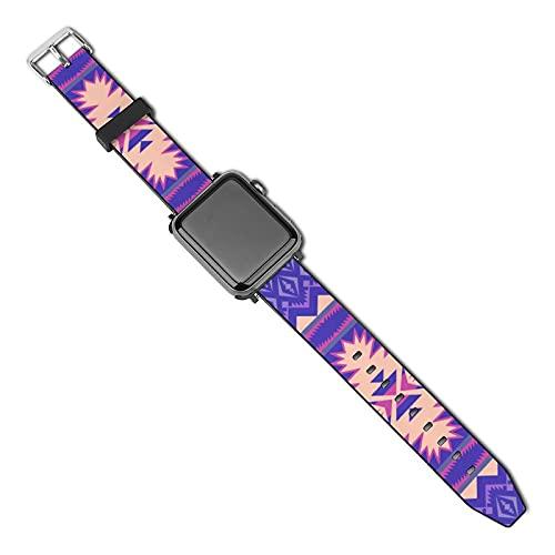 American Indians Aztec Navajo Compatible con Apple Watch Band 38 mm 40 mm Correa de repuesto de cuero Correa de moda Compatible con iWatch Series 5 4 3 2 1