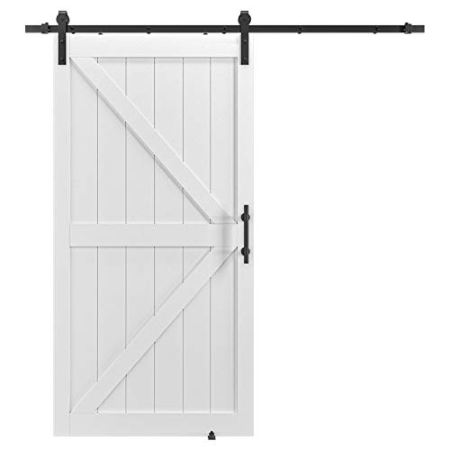 COSHOMER 42in x 84in MDF Sliding Barn Door with 7ft Barn Door Hardware Kit & Handle, Pre-Drilled Holes Easy Assembly -Solid Wood Slab Inside Covered with Water-Proof PVC Surface, White, K-Frame