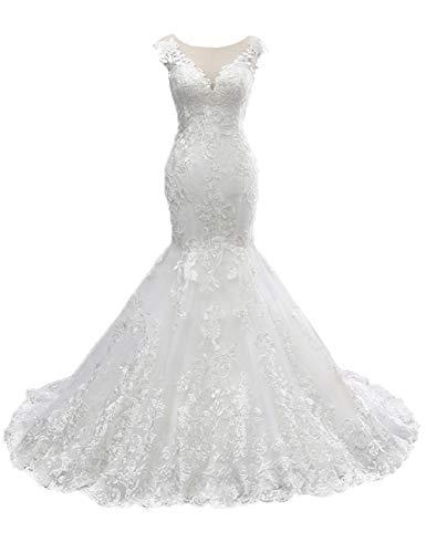 HUINI Brautkleider Hochzeitskleider Meerjungfrau Spitzen Lang Strand Brautmode Standesamtlich Brautkleid Ärmellos Weiß 58