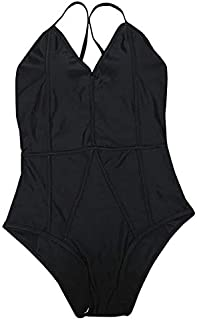 BEESCLOVER Women One Pieces Swimsuits Solid Floral Print Sexy Halter Backless Swimwear Bikini Female Bodysuit Bathing Suit Black XL