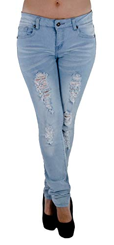 Style M482p – Plus Size Mid Waist Colombian Design Butt Lift Ripped Skinny Jeans in Washed Light Blue Size 22