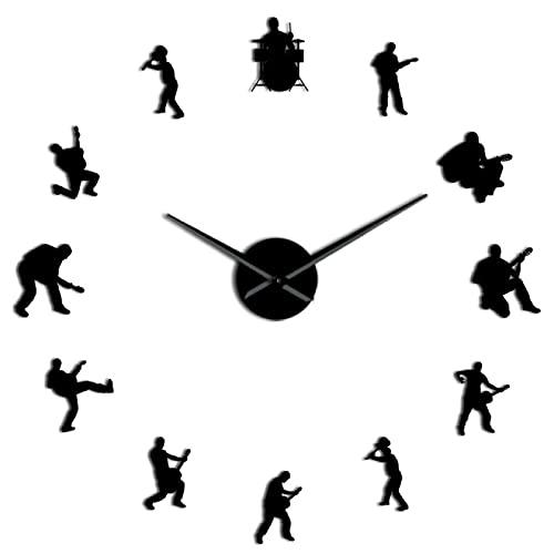 hufeng Reloj de pared de música de batería banda de rock DIY reloj de pared guitarrista silueta decorativa negro 37 pulgadas