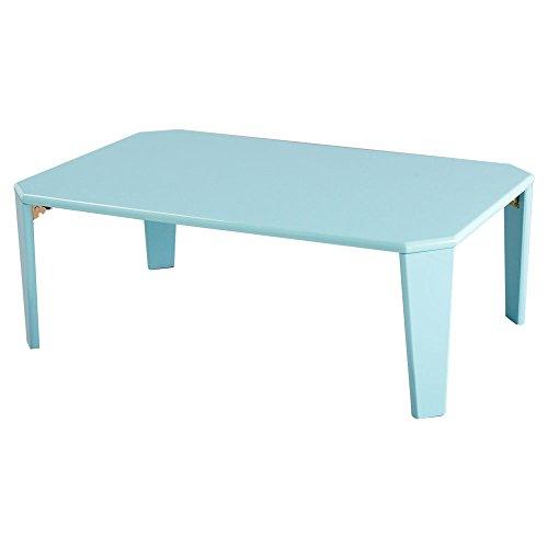 ぼん家具 ちゃぶ台 折りたたみ テーブル ローテーブル 鏡面 座卓 机 幅90cm パステルブルー
