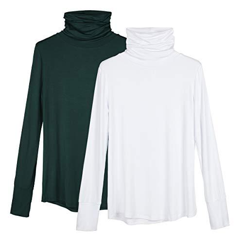 icyzone Damen Rollkragen Shirt Slim Fit Langarm Oberteile Rollkragenpullover 2er Pack (L, Dunkelgrün/Weiß)