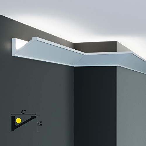 Molduras LED de techo y pared (4,8 metros lineales) para iluminación indirecta con tiras LED | Cornisas decorativas en poliuretano