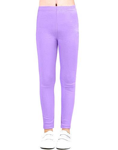 Auranso Kids Girls Leggings Full Length Cotton Tights Pants Purple 2-3T