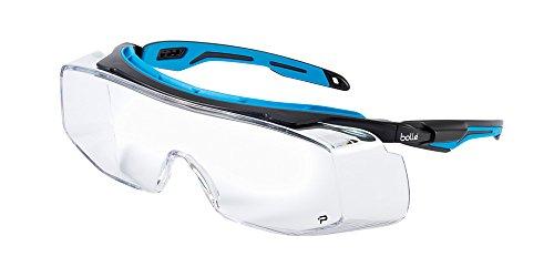 Bollé Safety 40306, Tryon OTG Safety Glasses Platinum, Black/Blue Frame, Clear Lenses