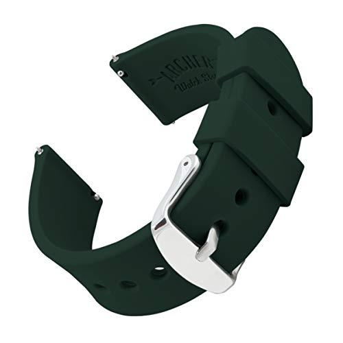 Archer Watch Straps | Repuesto de Correa Reloj de Silicona para Hombre y Mujer, Caucho Fácil de Abrochar para Relojes y Smartwatch | Verde Británico de Competición, 18mm