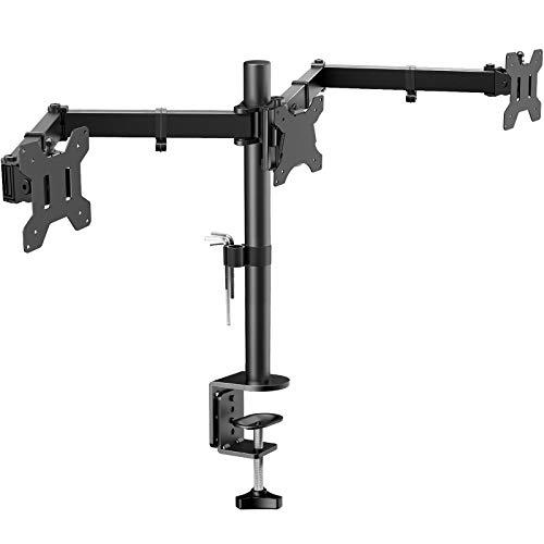 HUANUO Soporte de Monitor con Triple Brazo - Soporte de Monitor en Escritorio de Articulación con 3 Brazos Ajustable - Cada Brazo Sostiene 10kg - para Pantallas LCD de Ordenador de hasta 24'