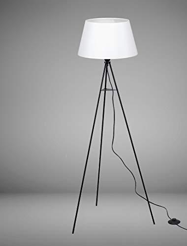 Trango 1522WL - Lámpara de pie con trípode (bombilla LED E27, luz blanca cálida, con pantalla de tela en blanco, trípode de 150 cm de altura, para sala de estar, dormitorio