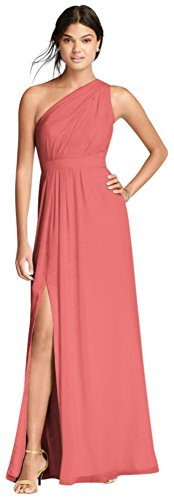 Long One-Shoulder Crinkle Chiffon Bridesmaid Dress Style F18055, Coral Reef, 28