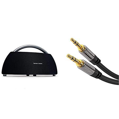 Harman-Kardon Go + Play Tragbarer Bluetooth Lautsprecher (mit Dual-Mikrofon-Konferenzsystem) schwarz & KabelDirekt - Aux Kabel, Audio & Klinkenkabel 3.5mm - 1m - schwarz