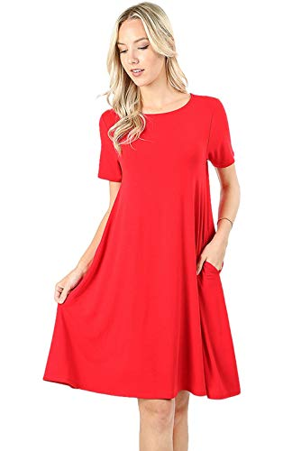 Women's Flare Swing Dresses Short Sleeve Casual T Shirt Loose Dress with Pockets - Ruby (1X)