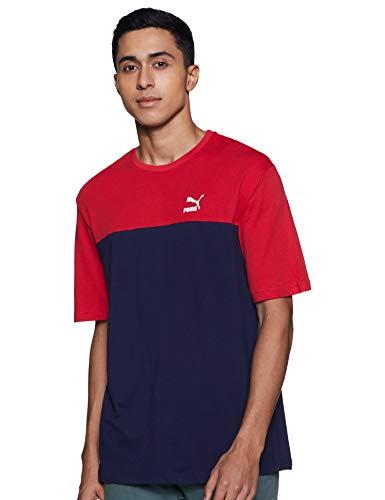 Puma Retro Tee - Camiseta para hombre, Hombre, 57638006, azul oscuro / rojo, extra-large